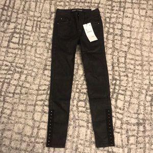 Zara Coated Super Skinny Black Denim Jeans 00
